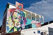 Graffiti by Frida Kahlo, Malaga, Costa del Sol, Malaga Province, Andalusia, Spain, Europe