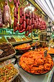 Mercado Central de Atarazanas, traditional market hall with a large selection of food and tapas bars,, Malaga, Costa del Sol, Malaga Province, Andalusia, Spain, Europe