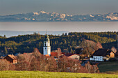 View of Grafenhausen and the Swiss Alps, Southern Black Forest, Black Forest, Baden-Wuerttemberg, Germany, Europe