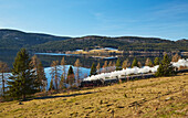 View of the Schluchsee with the Dreiseenbahn (historic steam train), Southern Black Forest, Black Forest, Baden-Wuerttemberg, Germany, Europe