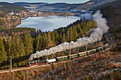 View over the Titisee with Drei-Seen-Bahn (historic steam train), Southern Black Forest, Black Forest, Baden-Wuerttemberg, Germany, Europe