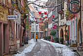 View into Konviktstrasse in snow, Freiburg, Breisgau, Southern Black Forest, Black Forest, Baden-Wuerttemberg, Germany, Europe