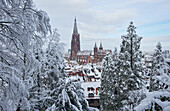 View from the Schlossberg to the cathedral 'Unserer lieben Frau' in snow, Freiburg, Breisgau, Southern Black Forest, Black Forest, Baden-Wuerttemberg, Germany, Europe