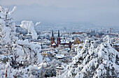 View from Schlossberg to St. Johannes Church in the snow, Freiburg, Breisgau, Southern Black Forest, Black Forest, Baden-Wuerttemberg, Germany, Europe