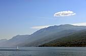 East bank with Monte Baldo near Brenzone, east bank, Lake Garda, Veneto, Italy