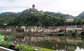 View over Cochem with Reichsburg, on the Moselle, Rhineland-Palatinate, Germany