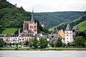 Bacharach with vineyards on the Rhine, Rhineland Palatinate, Germany