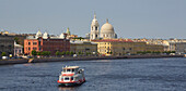 St. Petersburg, view over the Malaya Neva and the Makarova nab. to the Church of St. Catherine, Church of St. Catherine of Alexandria, Neva, Russia, Europe