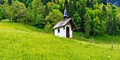 Meadow chapel near Spielmannsau, Trettachtal, near Oberstdorf, Allgäu, Bavaria, Germany, Europe