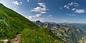 Laufbacher Eck-Weg, a panoramic high-altitude trail from Nebelhorn into Oytal, behind the Höfats, 2259m, Allgäu Alps, Allgäu, Bavaria, Germany, Europe