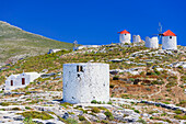 Traditional windmills, Chora, Amorgos, Cyclades Islands, Greece, Europe