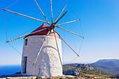 Traditional windmill, Chora, Amorgos, Cyclades Islands, Greece, Europe