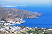 Katapola harbour, elevated view, Katapola, Amorgos, Cyclades Islands, Greece