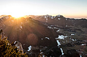 Sunset on the Rauschberg with a view of the Unterberg and the Hochfelln, Chiemgau Alps, Ruhpolding, Germany
