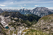 View of the Seeleinsee and the Watzmann, Berchtesgaden Alps, Bavaria, Germany