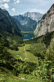View of the Watzmann and the Obersee below, Berchtesgaden Alps, Bavaria, Germany