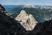 View from the Watzmann east face to the Kleiner Watzmann and the Hohen Göll behind it, Berchtesgaden Alps, Bavaria, Germany