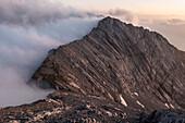 The Steintalhörnl in the fog, Berchtesgaden Alps, Bavaria, Germany