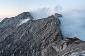 Hochkalter and Ofentalhörnl in the fog, Berchtesgaden Alps, Bavaria, Germany