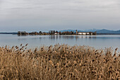 View of the Fraueninsel in Chiemsee, Gstad, Bavaria, Germany
