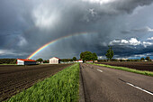 Rainbow after a heavy shower, Oberding, Bavaria, Germany