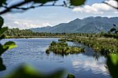 Kendlmühlfilzen with moor lake, high moor area in Chiemgau, Bavaria, Germany