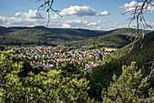 View of Hauenstein from Lanzenfahrter Felsen, Hauenstein, Rhineland-Palatinate, Germany