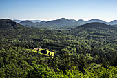 View from the ruins of Lindelbrunn over the Palatinate Forest, Lindelbrunn, Rhineland-Palatinate, Germany