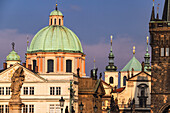The sights of Prague's Old Town seen from the historic Charles Bridge