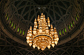 The large chandelier of the Mosque of Muscat is 15 m high, 8 m wide and weighs 8 tons