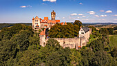 Panorama of the Ronneburg in Hesse as a well-preserved hilltop castle, which is a popular destination today
