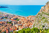 Cefalu town, top view, Cefalu, Sicily, Italy,
