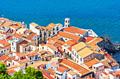 Cefalu town, elevated view, Cefalu, Sicily, Italy