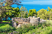 9th century temple of Diana megalithic structure on slope of Rocca, Cefalu, Sicily, Italy