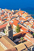 Cefalu hiistoric district, elevated view, Cefalu, Sicily, Italy