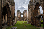 Elgin Cathedral, transept and beheaded spiers, Elgin Cathedral, church ruin, Elgin, Moray, Scotland, UK