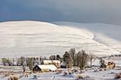 Scalan College, Snowdrifts, Grampian Mountains, former hidden Catholic seminary at Tomintoul, Scotland, UK