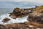 Slain's Castle, Cruden Bay, ruined castle on the east coast, Aberdeenshire, Scotland UK