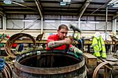 Cooperage in workshop, Speyside Cooperage, Whiskey, Craigellachie, Scotland UK