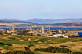 View over St Andrews, golf course and cathedral ruins, Fife, Scotland, UK