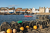 The harbor at St Monans, fishing village, lobster basket, boats, Fife, Scotland, UK