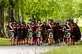 Atholl Highlanders Parade, Blair Castle, marching out, Atholl Gathering and Highland Games, Perthshire, Scotland, UK