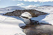 Stone Bridge, Old Miltary Road in the snow, Corgarff, Lecht Road, Cairngorms, Highlands, Aberdeenshire, Scotland, UK