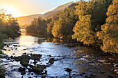 River Affric, autumn colors, looking down into the valley from Glen Affric to Càrn Eige, autumn, Highlands, Scotland, UK