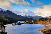 Loch Affric in Glen Affric, winter, snow peaks, Caledonian Forest, Highlands, Scotland, UK