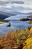 Queen's View over Loch Tummel, near Pitlochry, Highlands, autumn colors, Scotland, UK