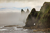 Duncansby Head, Sea Stacks in Sea Mist, Caithness, Highlands, Scotland UK