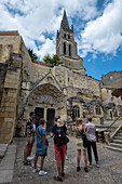 Rock church in the wine town of Saint Emilion, Unesco World Heritage, France