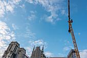 Major construction site at Notre Dame Cathedral, Paris
