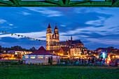 Party tent on the Elbe, behind it Magdeburg Cathedral, Saxony-Anhalt, Germany